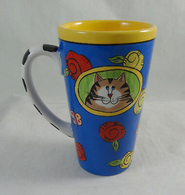 """Catzilla Candace Reiter Cat Mug 6"""" Tall Hand Painted Mint Cond. Free Shipping"""