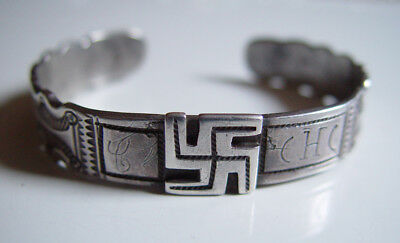 ANTIQUE 1880 -90 NAVAJO INDIAN COIN SILVER BRACELET a True Museum Piece Old Pawn