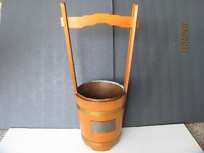 Vintage 1950's Japan Wood Handled Flower Basket Camp Sasebo Kyushu Copper Insert