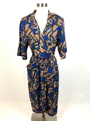 Paquette Too! Womens Sz 14 Belted 3/4 Sleeve Plunge Midi Collared Dress Pockets