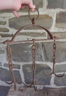NICE 18th Early 19th C Wrought Iron Blacksmith Pan Utensil Game Herb Meat Rack