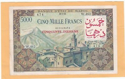 1953 Morocco 5000 Francs 50 Durhams In Xf Condition