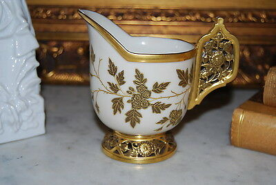 Rare Early Royal Worcester Reticulated Satin Gold Foot Handle Flower Creamer Cup