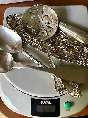 6oz Scrap Sterling Silver 925 - Chains, Spoons, Handle