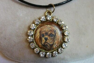 Hand Painted Cavalier King Charles Spaniel Necklace Pendant Ruby