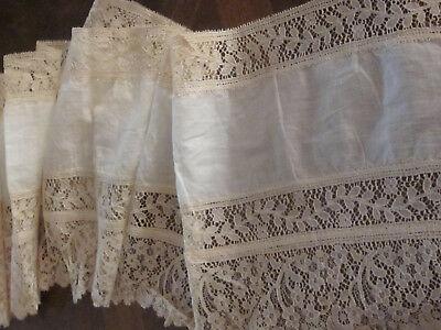 "Antique Ecru Large Lace Flounce 78"" Long By 10 Inches Wide Unused Perfect Dolls"