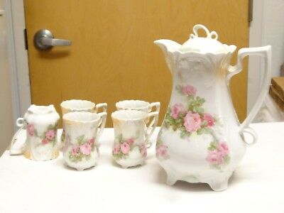 Antique Large Germany 884 Teapot Chocolate Pot Roses Floral & 5 footed cups