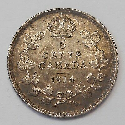 1914 Five Cents Silver EF Beauty HIGH Grade BETTER Date King George V Canada 5¢