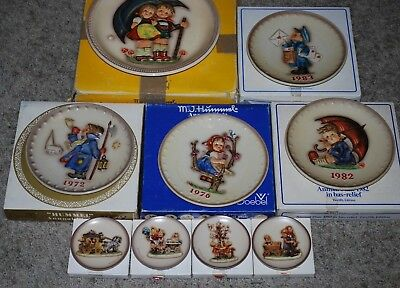 Lot 9 Goebel M.I. Hummel Anniversary, Annual & Mini Plates 1972 - 1997 W/boxes