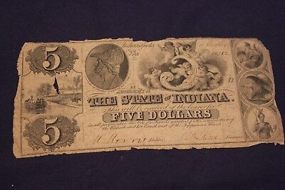 1842 State of Indiana $5 Notes - Wabash & Erie Canal Construction