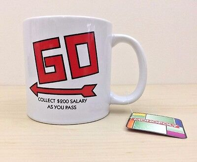 Monopoly Hasbro Big Coffee Mug Cup 2014 Game Go Collect $200 Salary as you pass