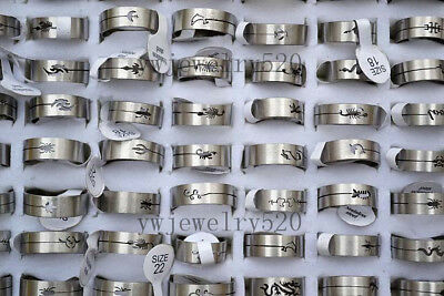 FREE Fashion 10pcs Wholesale Mixed Lots Cut Animal Silver Stainless steel Rings
