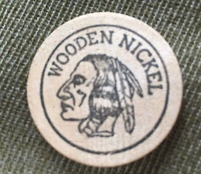 Vtg Wooden Nickel Indian Head United States Of America Wooden Nickle Coin Token