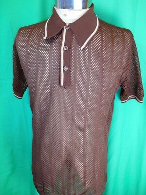 Vintage 60s 70s Dark Brown Open Weave  Polyester Mod Sharpie Style Polo Shirt L