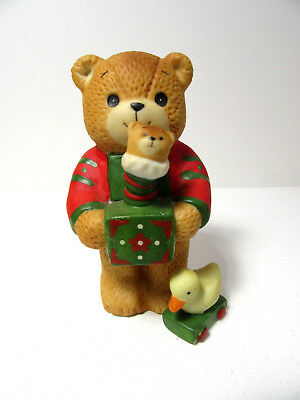 Lucy & Me ~ Holding Lucy in the Box Duck Christmas ~ Enesco Porcelain Figurine
