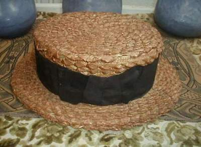 Antique Victorian 1890s Straw Boater Hat 7 3/8 Very Nice Needs Repair to Crown