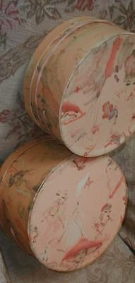 Romantic 2 Vintage 1940s Lord & Taylor Hat Boxes Fabulous Graphics,Pink Ribbons