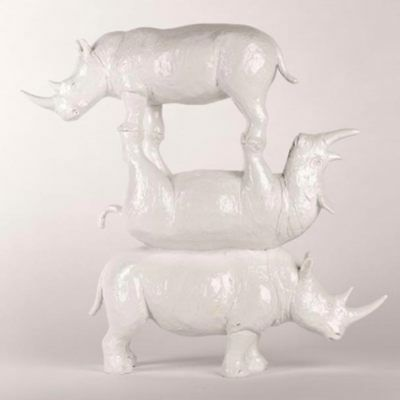 GILLIE AND MARC, Direct from artists. Authentic resin sculpture 'Rhino' 'White'