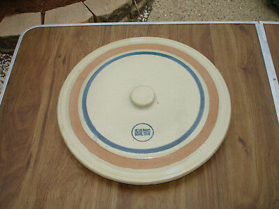 "LARGE Blue Band Stoneware Crock Lid 17 1/2"" Diameter White Hall, Ruckles"