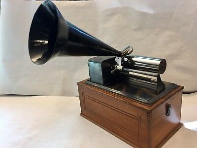 Unique Small Cylinder Phonograph - Columbia/Pathe Style, Oxidized Copper Finish!