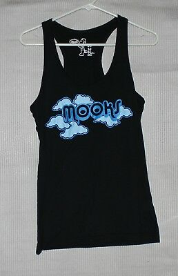 Mooks Womens black tank top with blue front logo SIZE 10