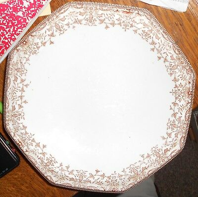"""Antique T. & R. Boote Plate """"Tournay"""", 1899, Brown and White"""