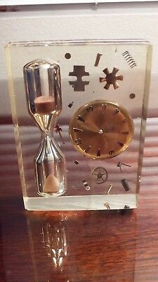 Vintage Lucite Acrylic Egg Timer Hourglass With Exploded Watch Parts