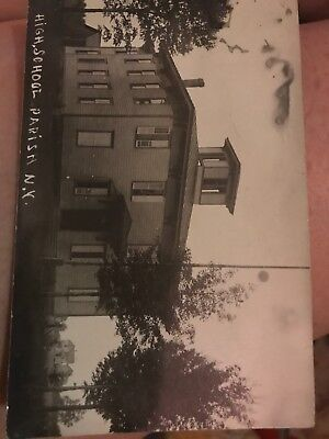 Antique Parish NY High School postcard great message on back approx 1916