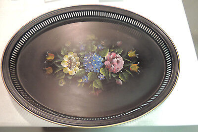 "Large 22"" X 16"" Hand Painted Roses  Flower Antique Black Oval Tole Tray 1950 """