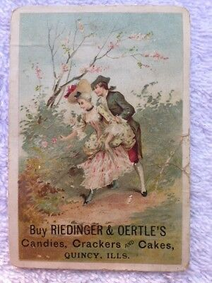 Antique Victorian Trade Card Riedinger & Oertles Candy Cakes Quincy Illinois