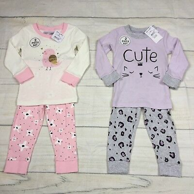 2x Baby Girl Long Sleeve 100% Cotton 2-Piece Pyjama Sets Size 1 12-18months NWT