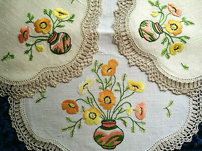 Glorious 3 Piece Vase of Poppies ~ Vintage Heavily Hand Embroidered Duchess Set
