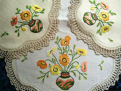 Glorious Vase of Poppies ~ Vintage Heavily Hand Embroidered Centrepiece