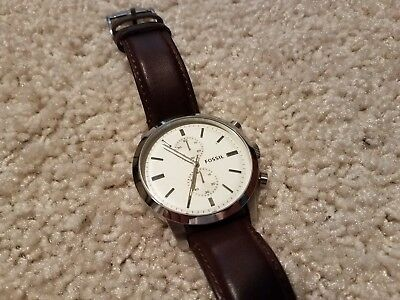 3457697ef Fossil Men's FS4865 Townsman Stainless Steel Watch with Brown Leather Band