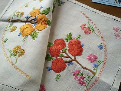 Large Flower Blossom Trees - Heavily Hand Embroidered Centrepiece/mat