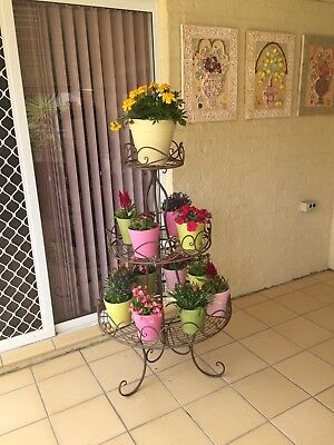Pot Plant Stand, Wrought Iron Look With 13 Pretty Pastel Pots