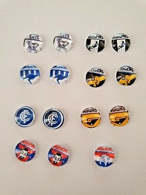 Afl Retro Footy Team Earrings Cats,blues,pies,roos,tigers,hawks,dogs Ect