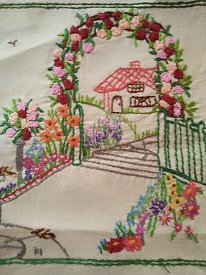 Red Roof Cottage ~ Rose Arch & Gardens ~ Vintage Hand Embroidered Picture Panel