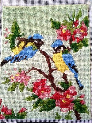 Charming Needlepoint Blue-Tit Birds in Pink Apple Blossom - Picture/Panel