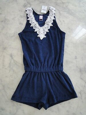 NWT-California Kisses FLAMENCA terry cloth romper girl child size navy blue