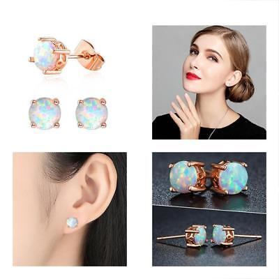 Opal Stud Earrings For Women, Rose Gold Plated Round Shape 6mm Best Gift Her