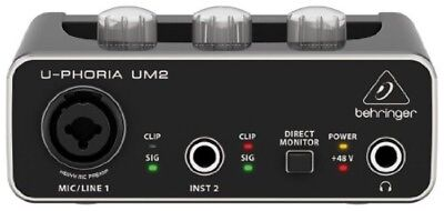 BEHRINGER U-PHORIA UM2 USB audio interface 48kHz 48V New