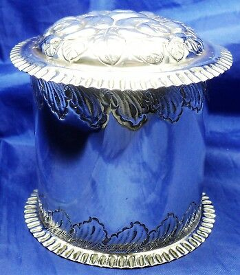VICTORIAN SOLID SILVER REPOUSSE TEA CADDY BY DEYKIN & HARRISON 1896 ~ 132.5 g