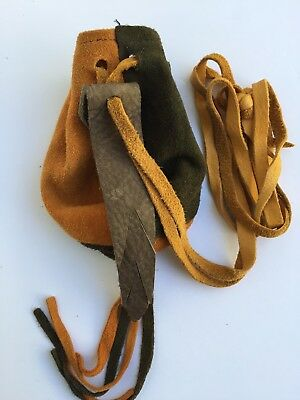 Renaissance Long Drawstring Pouch Bag Suede Handmade