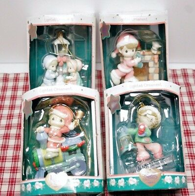 Lot of 4 Precious Moments 1999 Lighted Christmas Ornaments 664480 - Enesco