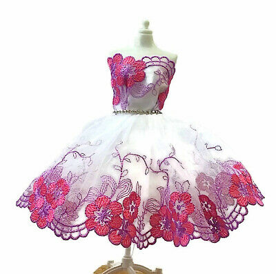 Brand new Barbie doll clothes outfit princess wedding dress embroidered dress.