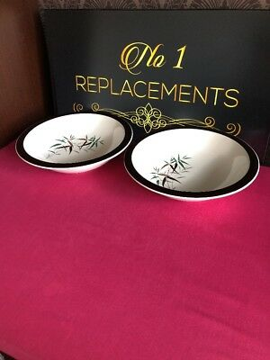 """2 x Royal Doulton Bamboo Vegetable Serving Dishes 9.75"""" x 2.5"""""""