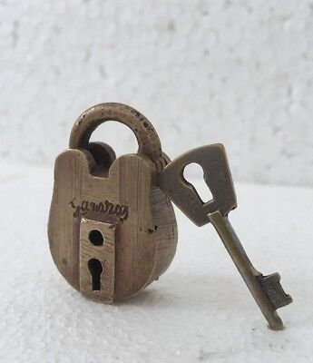 old VINTAGE solid brass padlock lock with key RARE shape small miniature