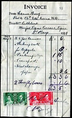 Malta ½d & 1½d KGVI Coronation on receipt 3 MAY 1939