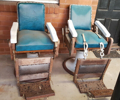Pair of Antique Vintage Barber Chairs Vulcan Australia suit restorer/collector
